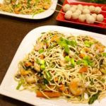 Pancit Canton with shrimp and veggies